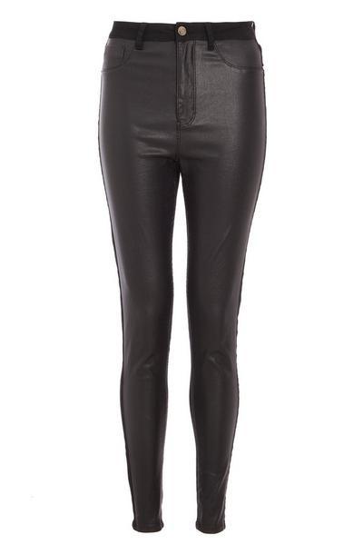 Black Faux Leather Denim Skinny Jeans