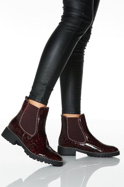 Wine Stud Detail Flat Chelsea Boot