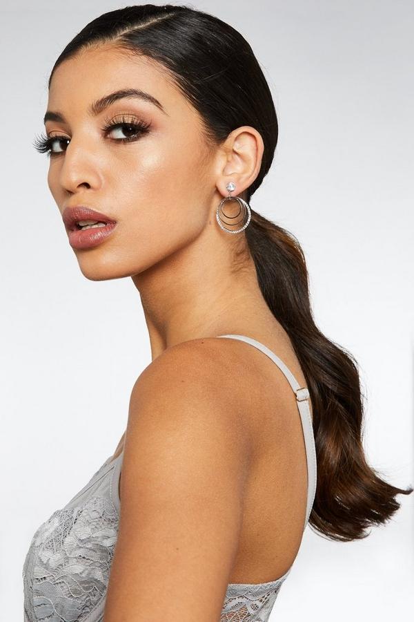 Silver Diamante Triple Hoop Earrings