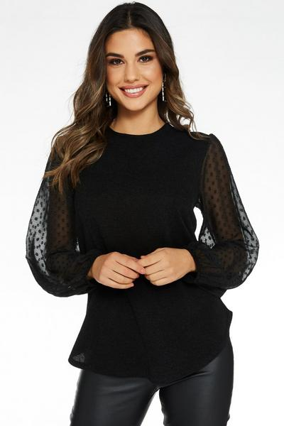 Black Light Knit Polka Dot Mesh Sleeve Top