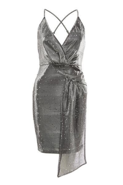 Silver Strappy Drape Bodycon Dress