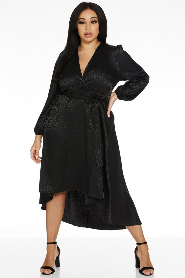 Curve Black Satin Dip Hem Dress