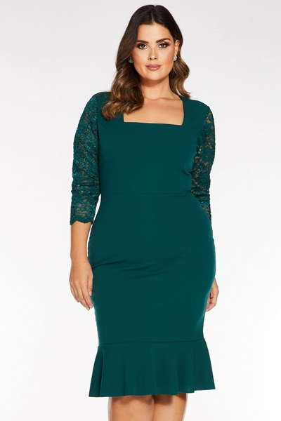 Curve Bottle Green Square Neck Lace Sleeve Midi Dress