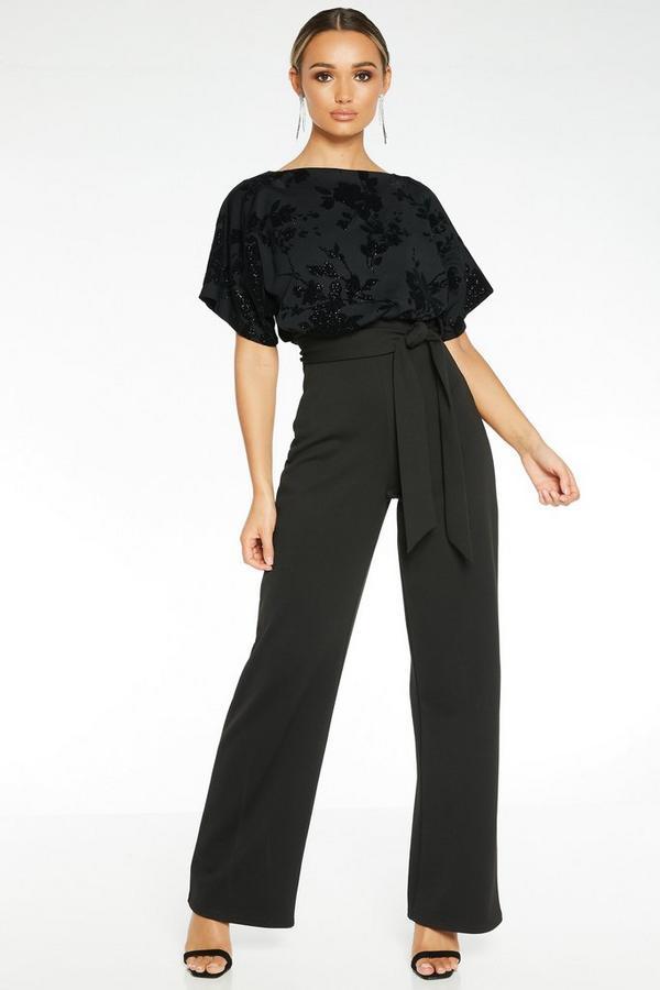 Black Glitter Batwing Jumpsuit