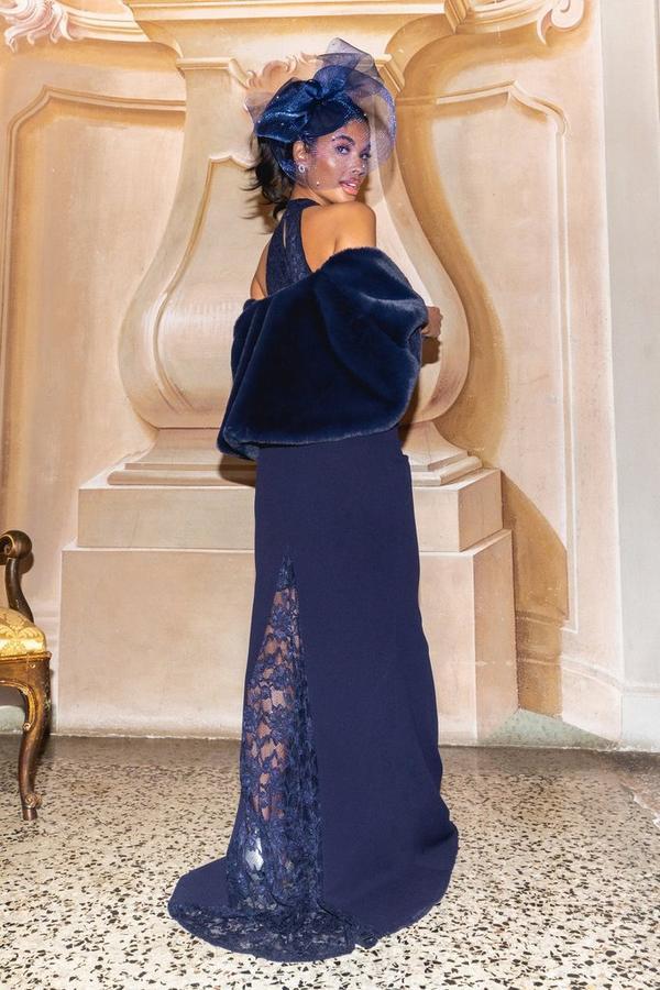 Petite Navy Lace Halterneck Maxi Dress