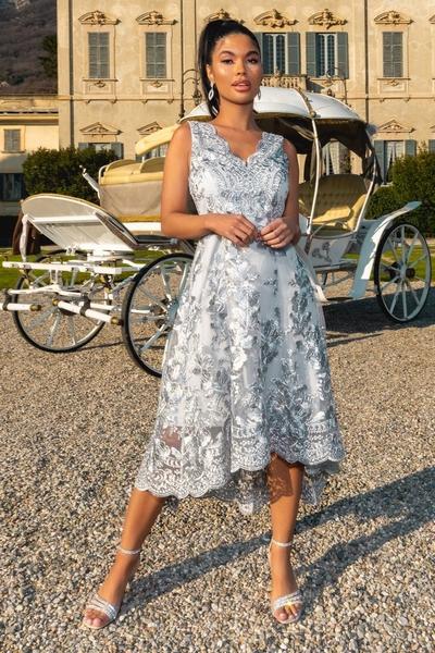 Petite Grey Embroidered Dip Hem Dress