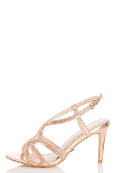 Rose Gold Diamante Heeled Sandals