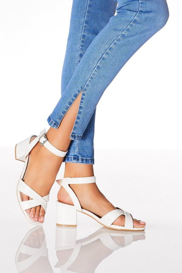 White Faux Leather Block Heel Sandals