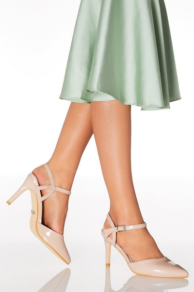 Nude Patent Point Toe Courts