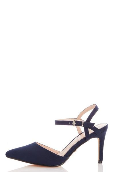 Navy Faux Suede Courts