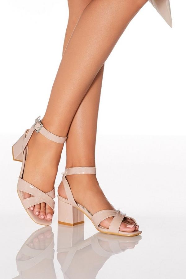 Nude Patent Block Heel Sandals
