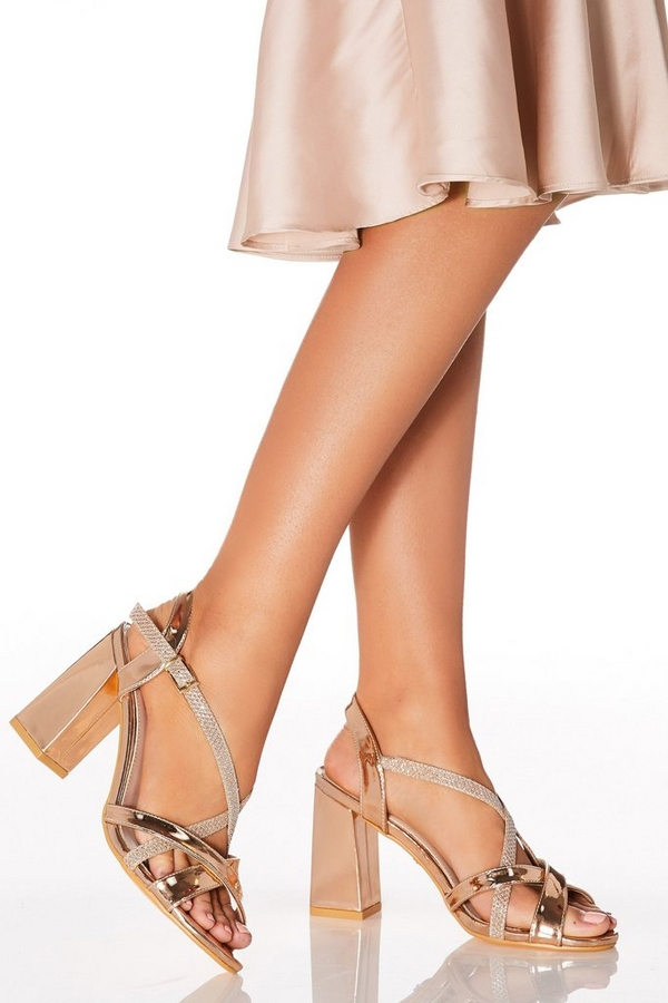 Rose Gold Flare Heeled Sandal