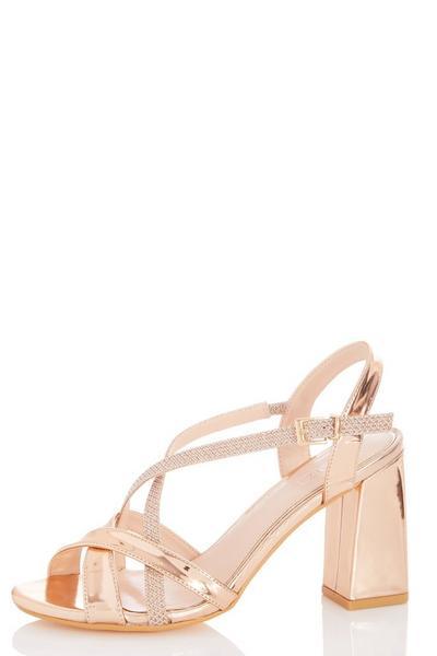 Rose Gold Flare Heeled Sandal