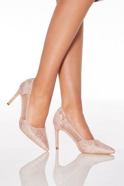 Pink Lace Mesh Courts