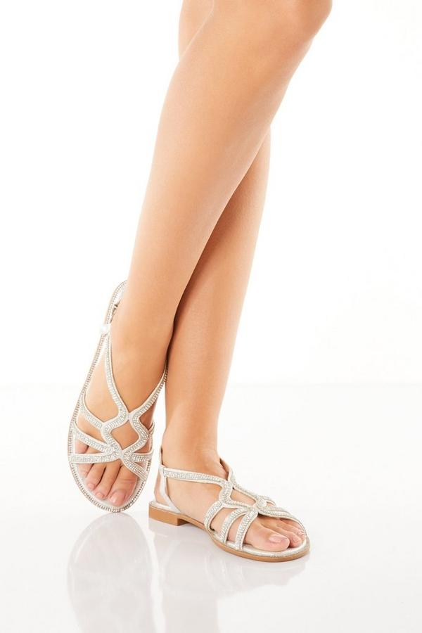 Silver Diamante Strap Sandals