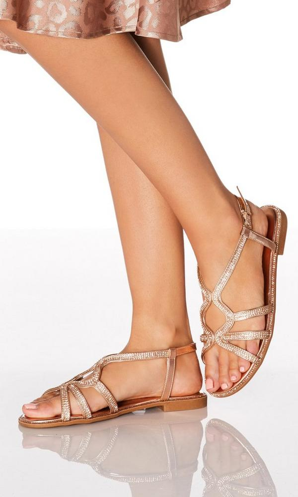 Rose Gold Diamante Strap Sandals