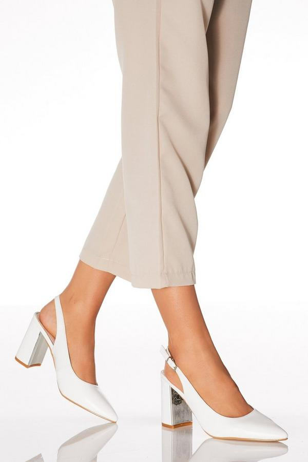 White Faux Leather Slingback Courts