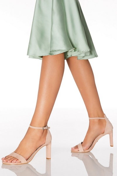 Pink Faux Suede Heeled Sandals