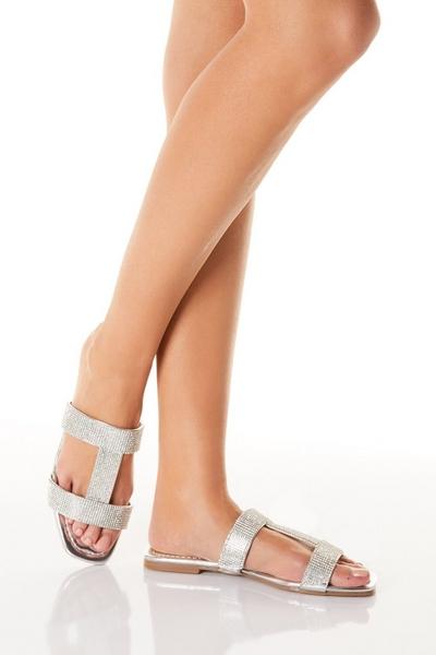 Silver Diamante Flat Sandals