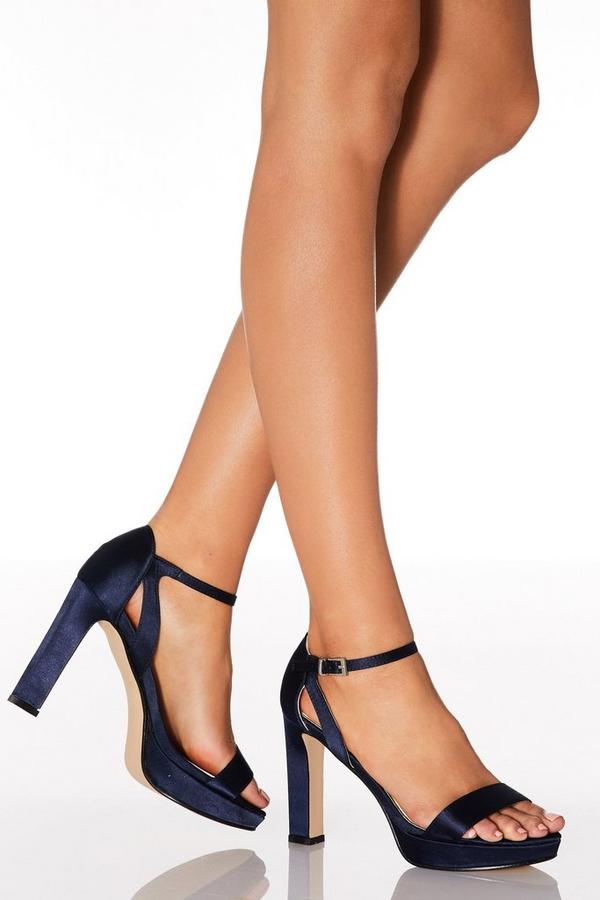 Navy Satin High Heeled Sandals