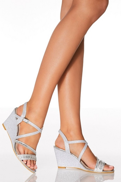 Silver Diamante Shimmer Strap Wedges