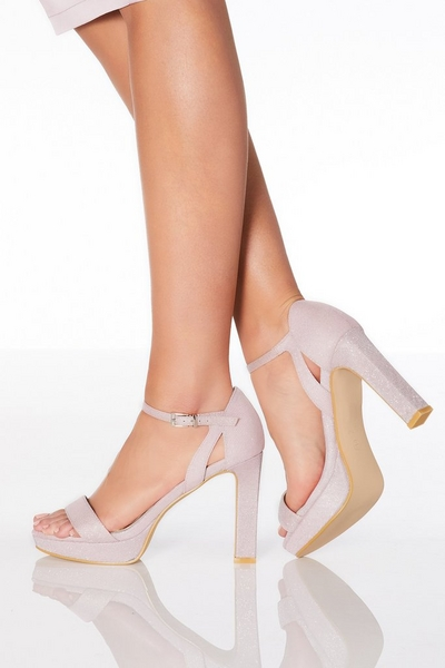 Pink Shimmer High Heeled Sandals
