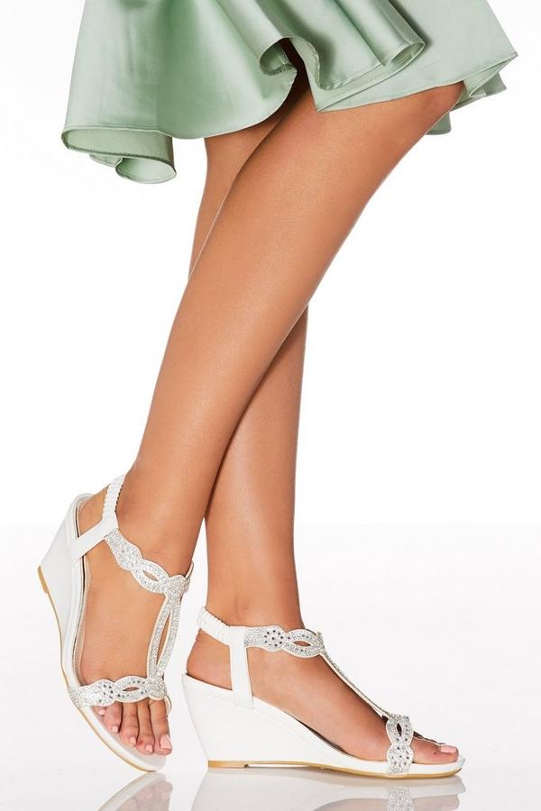 White Diamante T-Bar Wedges
