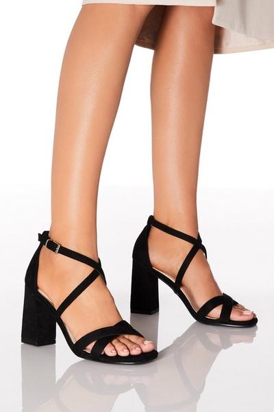 Black Faux Suede Heeled Sandals