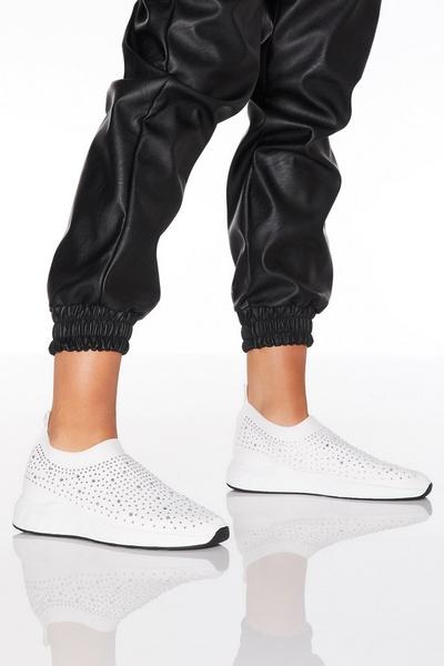 White Diamante Knit Trainer