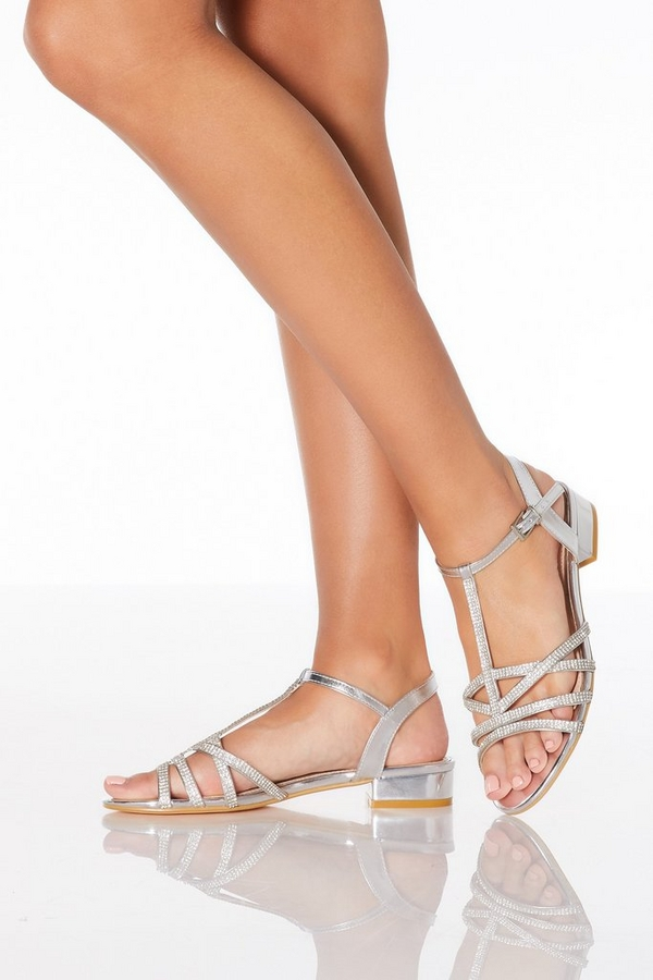 Silver Diamante Low Heeled Sandals