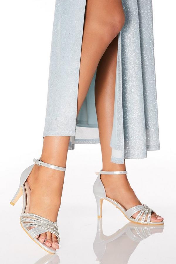 Silver Diamante Low Heel Sandals