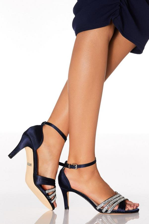 Navy Diamante Low Heel Sandals