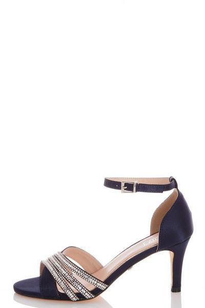 Navy Diamante Low Heel Sandals