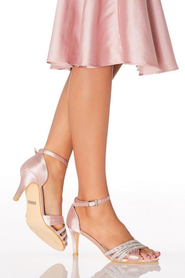Pink Diamante Low Heel Sandals