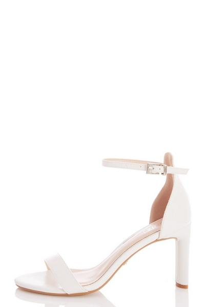 White Faux Leather Heeled Sandals