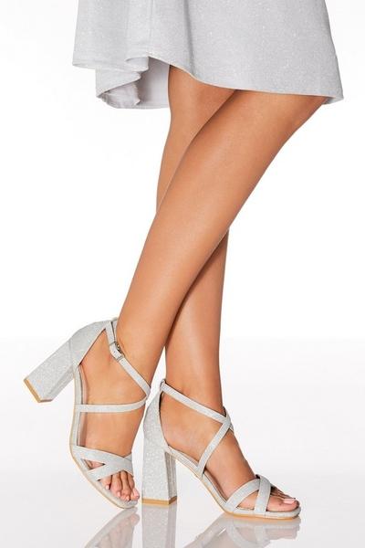 Silver Shimmer Heeled Sandal