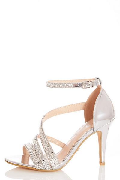Silver Diamante Heeled Sandal