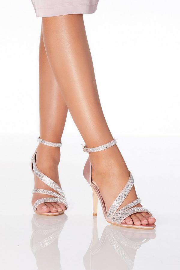 Pink Diamante Satin Heeled Sandal