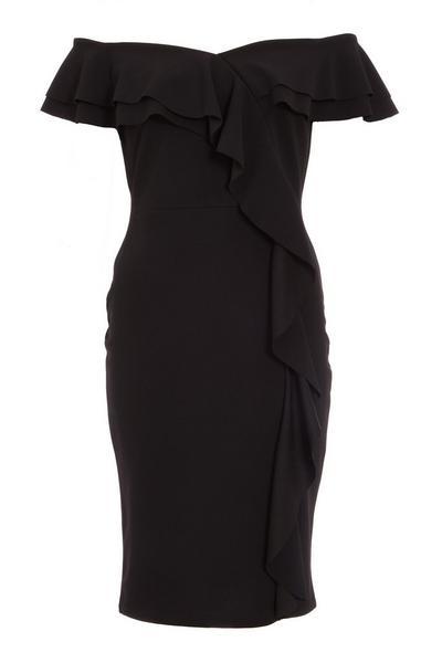 Black Frill Bardot Midi Dress