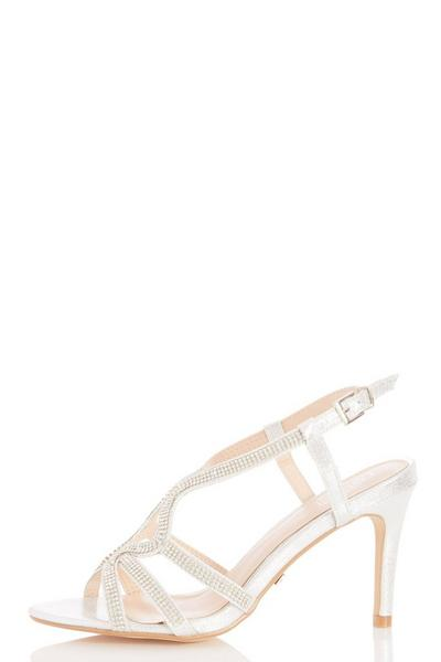 Silver Diamante Heeled Sandals