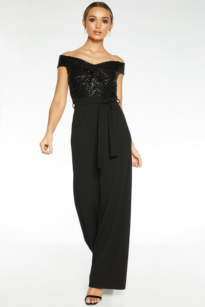 Black Sequin Bardot Jumpsuit