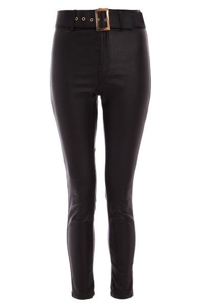 Black Faux Leather Skinny Trousers
