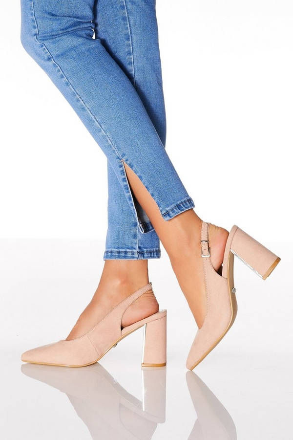 Pink Faux Suede Slingback Courts