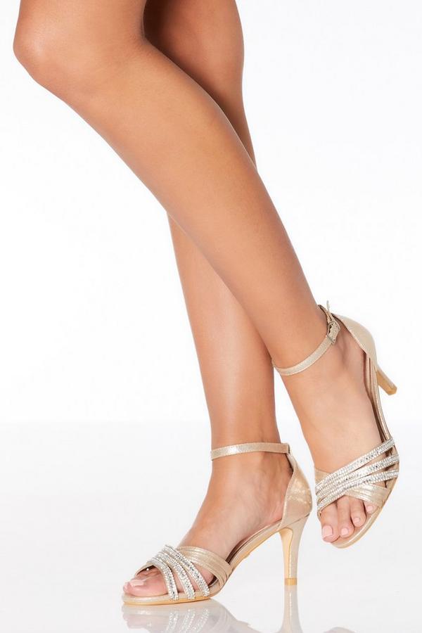 Gold Diamante Low Heel Sandals