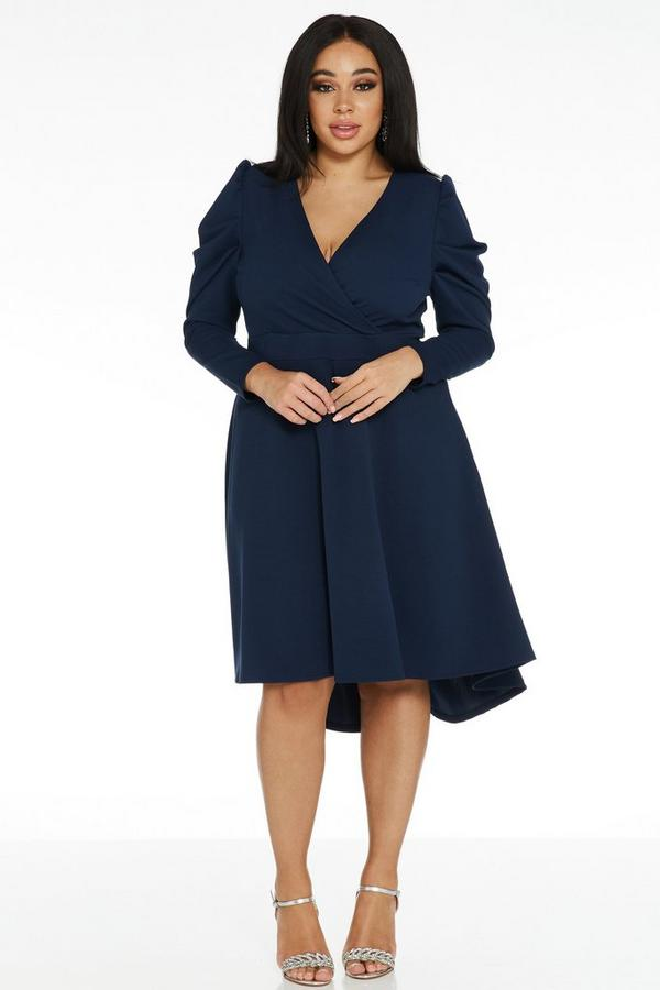 Curve Navy Dip Hem Dress