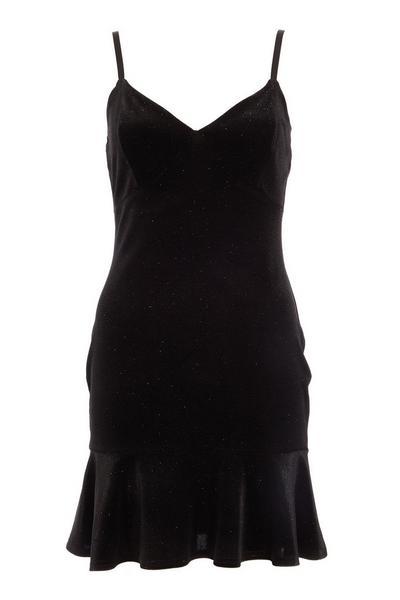 Black Glitter Velvet Dress