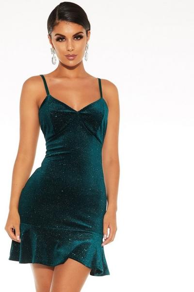 Green Glitter Velvet Dress