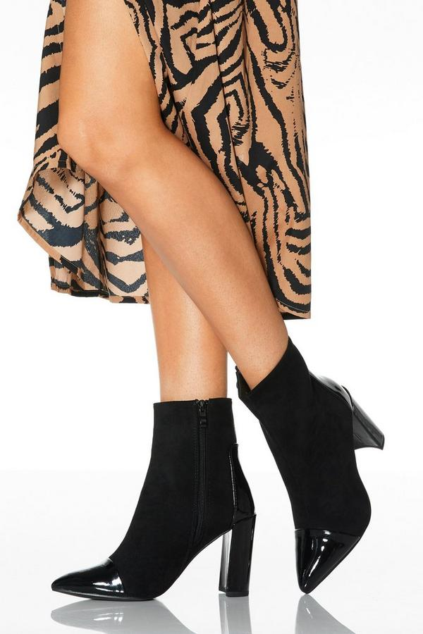 Black Faux Suede Point Toe Ankle Boot