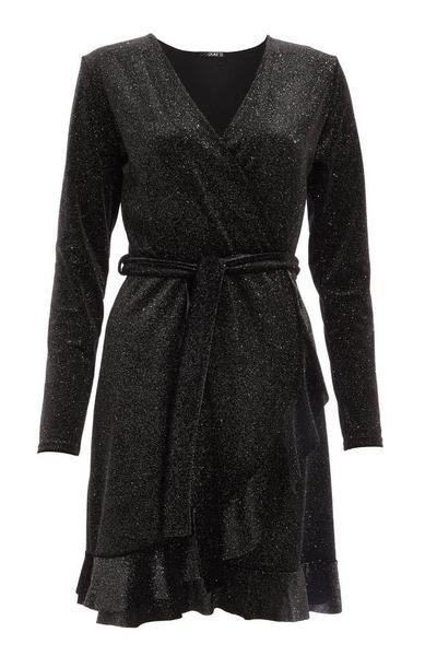 Black Velvet Glitter Wrap Dress