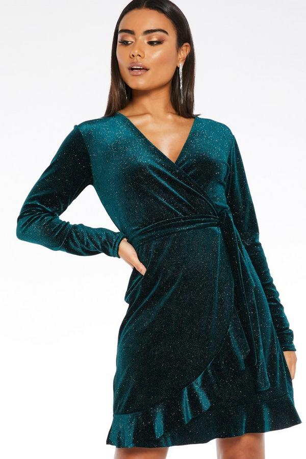Bottle Green Velvet Glitter Wrap Dress